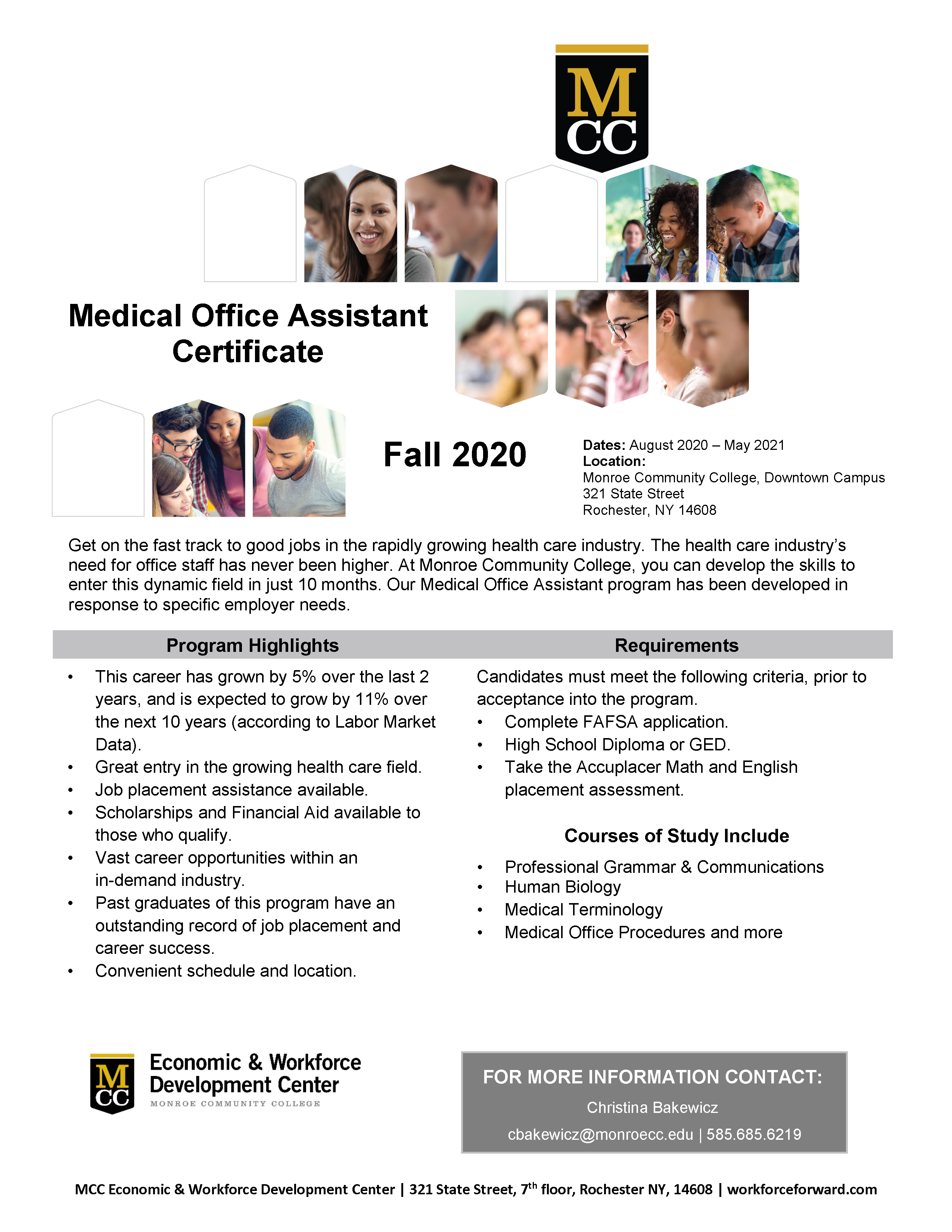 Flyer information for the Medical Office Assistant Certificate for Spring 2021